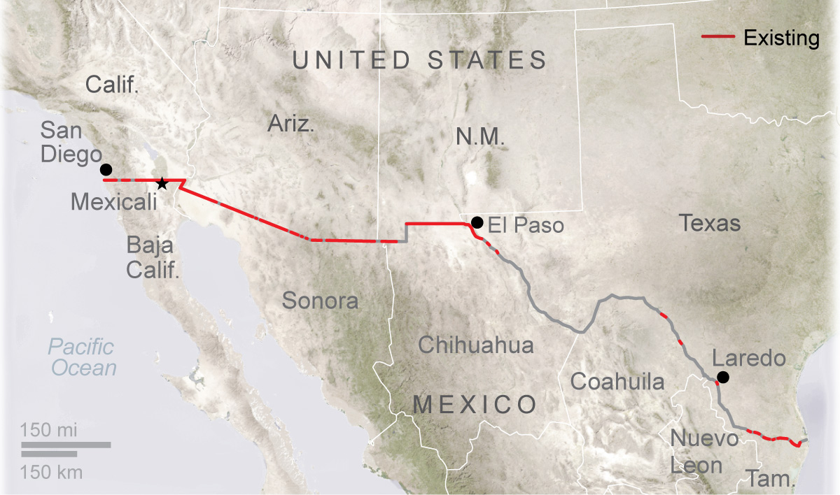Rising Stakes For Trump In Looming Wall Battle Houston Chronicle - Current us mexico wall map
